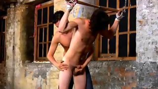 Tied up dude gets his tool wanked