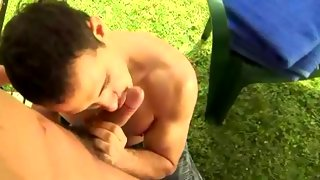 Nice dark haired dude gives head outdoors