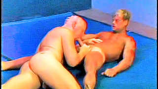 Strong blonde gay dude got his hard cock blown out