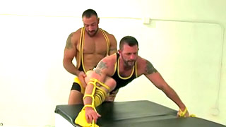 Strong tattooed bearded guy got his ass rammed from behind
