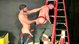 Gay fireman have fantastic hardcore sex on the ladders