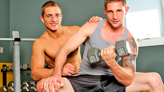 Handsome gay studs have fantastic anal sex in the gym