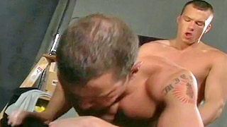 Handsome gay bloke pounds his lovers gaping asshole