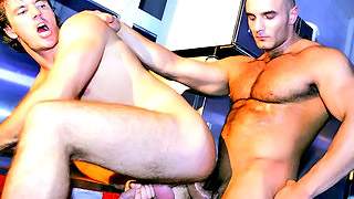 Handsome bald stud bangs his lovers' tight ass