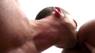 Skinny dark haired bloke licks sweet ass