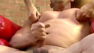 Amazing skinny dude wanks while banged