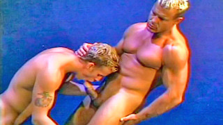 Strong blonde gay dude got his hard shaft blown out