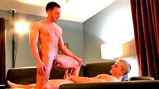Blonde gay bloke enjoys banging his lover's tight butt