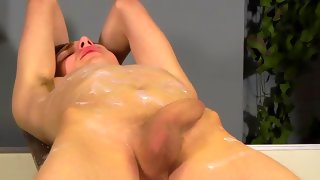 Fabulous skinny dude gets covered with wax