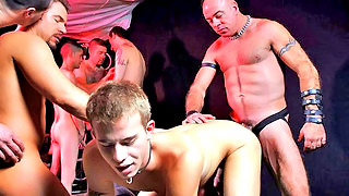 Kinky blonde gay stud got gang banged in the dungeon