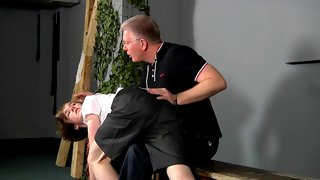 Kai's ass gets all red from the spanking