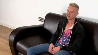 Blonde British fellow enjoys rubbing his hard shaft