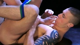 Great anal plowing with two hot ripped guys