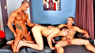 Hung gay blokes have a wild threesome after a game