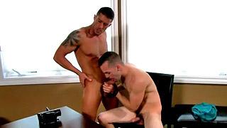 Gay dude blows his bosses hard boner in the office