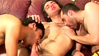 Eastern European stud fucks with two experienced gay blokes