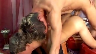 Fellow getting pounded while also sucking weiner