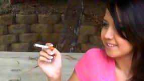 Smoking gf video of stylish bimbo waiting for some action
