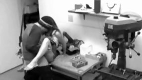 Adorable slim bitch gets pounded hard in a garage.