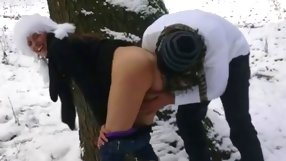 Slutty Russian amateur slut gets nailed in the woods