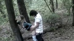 Cute blonde chick is banged in the forest.