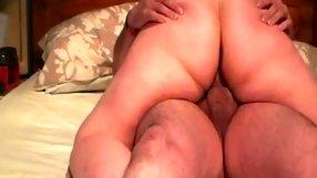 Splendid chubby chick rides a stiff schlong