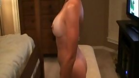 Girl slams her cunt against a large boner