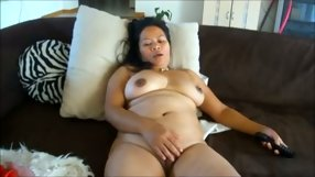 Obese Oriental chick whips out her favorite toy