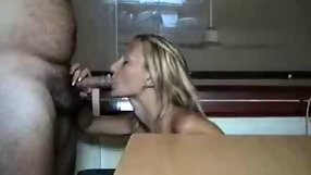 Amateur blonde blows her whale of a husband