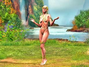 Beautiful elven girls posing naked outdoors