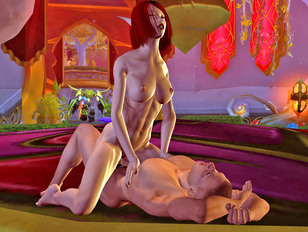 Horny little elf riding on guy's massive cock