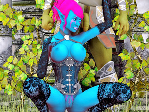 Busty hotties of the fantasy realm getting naughty