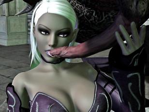 Dark elf slut licking a gigantic cock