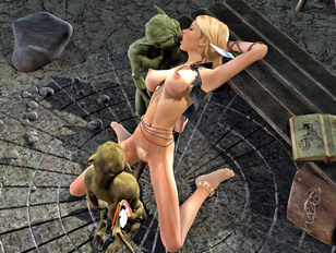 Lusty girl gets double teamed by goblins