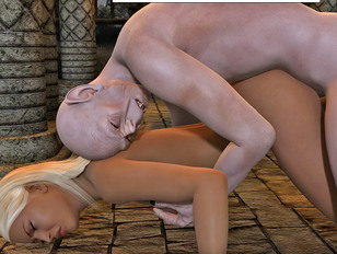 Horny goblins fucking a babe twice their size