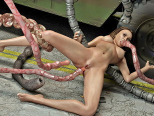 Tentacle monster bounds and rapes a hot girl