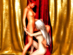 Hot beautiful blowjob from lesbian she-elves