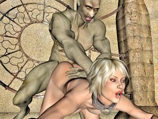 Three sluts working on giant's huge cock