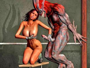 Tempting hot 3D girl satisfying the horny devil