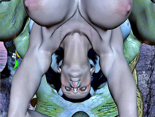 Lusty demon rams a hottie on top of his giant cock