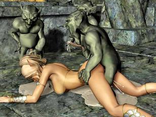 Elven warrior princess gangbanged by goblins