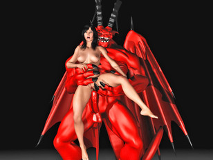 Demon sex pictures with almost nude girls and red devil
