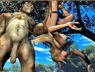 Gorgeous huntress surprised by a horny troll