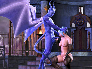 Horny girl summons a winged demon to fuck her