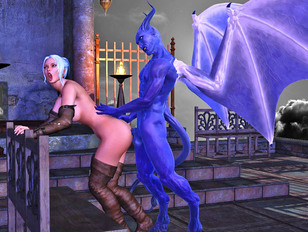 Sex loving hottie nailed by a winged demon