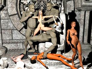 Minotaur guards capture and rape a hot blonde girl
