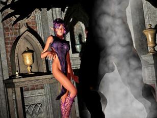 Hot elven priestess fucks the demon she summoned