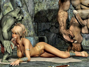 Hot girl gangbanged and covered in monster jizz