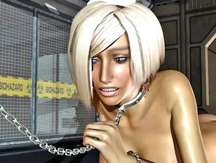 Horny alien abusing his busty sexy nurse slave
