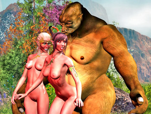 Female elves are making hot love together with 3dmonsterporn beast